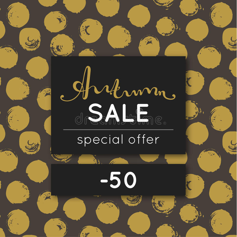 Autumn sale. Discount in fall. Special offer. Pattern with golden round stain. Repeating background with spots. Lettering. Flyer, advertising, banner stock illustration