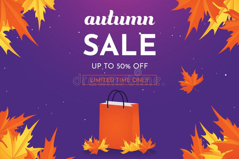 Autumn sale discount offer up to 50 percent off with oak leaves, banner and background vector illustration. Autumn sale discount offer up to 50 percent off with royalty free illustration