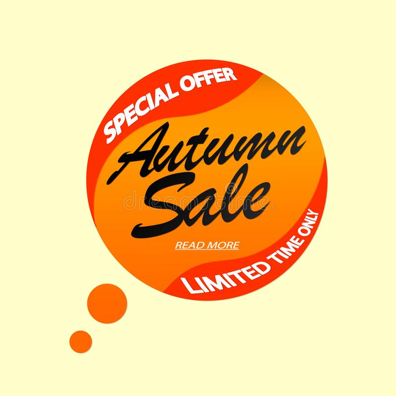 Autumn Sale, Fall discount tag, banners design template, Thanksgiving Day, special offer, app icon, vector illustration stock illustration