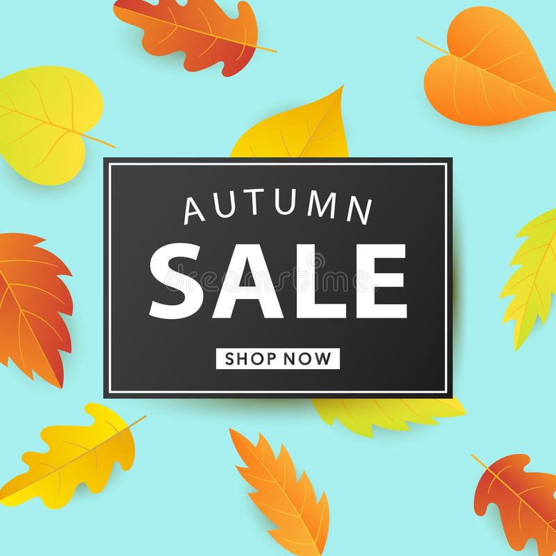 Autumn Sale Fashionable Banner Template with Colorful Fall Leaves royalty free illustration
