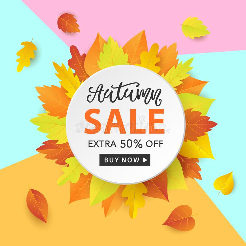 Autumn Sale Fashionable Banner Template with Colorful Fall Leaves on bright trendy blue background. Shopping Discount promotion. Poster, card, flyer, label royalty free illustration