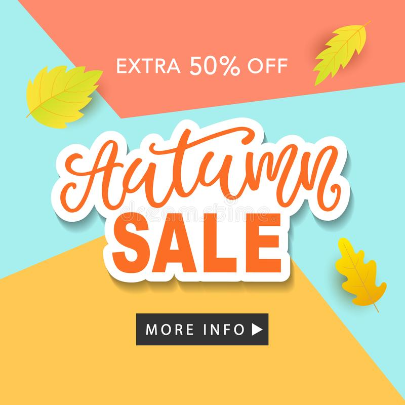 Autumn Sale Fashionable Banner Template with Colorful Fall Leaves on bright trendy blue background stock illustration
