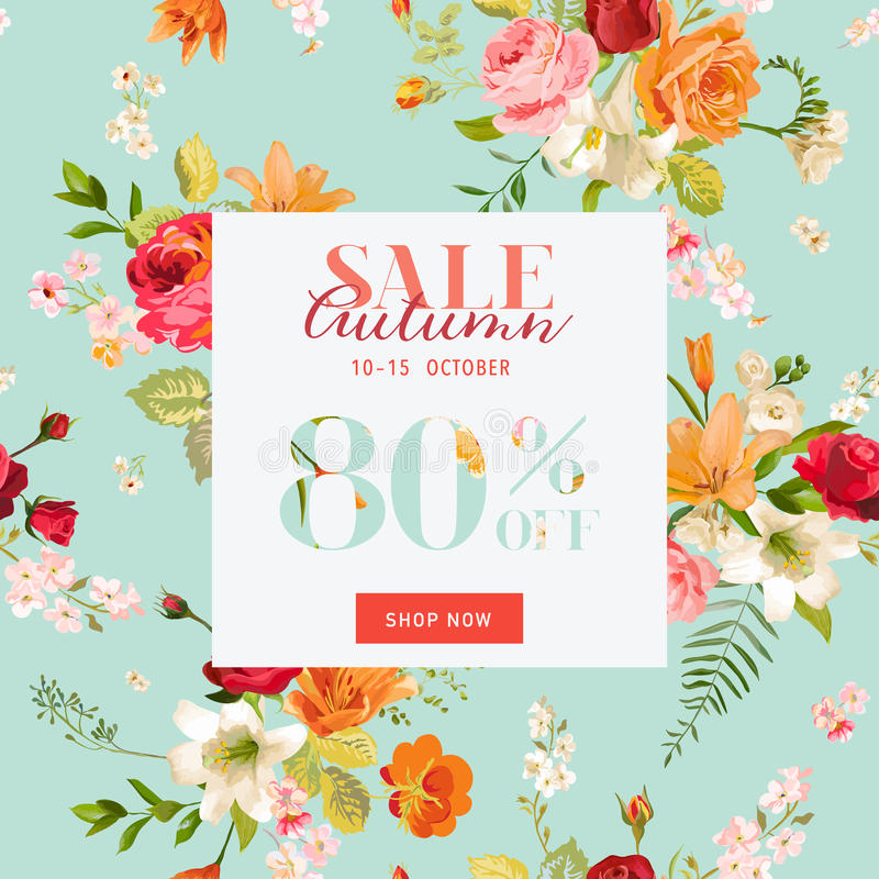 Autumn Sale Floral Banner. Fall Discount Background with Lily and Orchid Flowers vector illustration