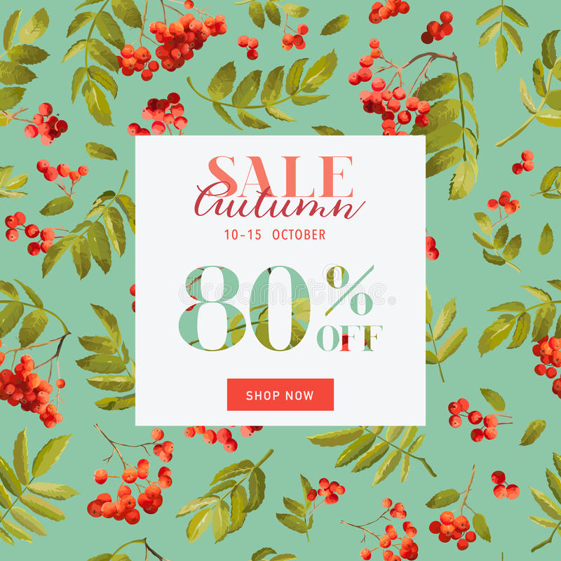 Autumn Sale Floral Banner. Fall Discount Background with Rowanberry and Leaves. Vector illustration vector illustration