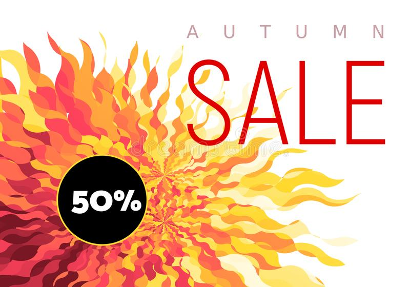 Autumn Sale flyer on abstract fall background. Use one editable gradient for easy recolor. Eps8. RGB. Global colors royalty free illustration