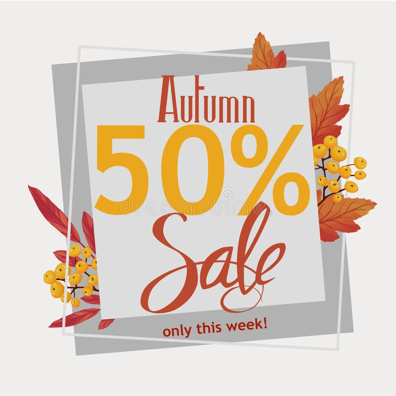 Autumn 50% sale, flyer, banner, poster template stock illustration