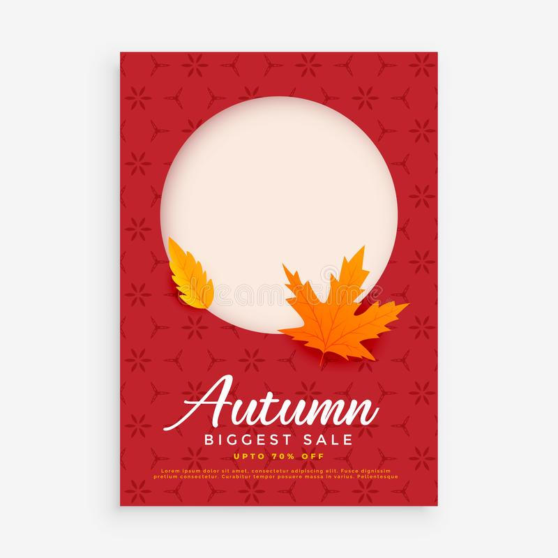 Autumn sale flyer design with space for image or text vector illustration