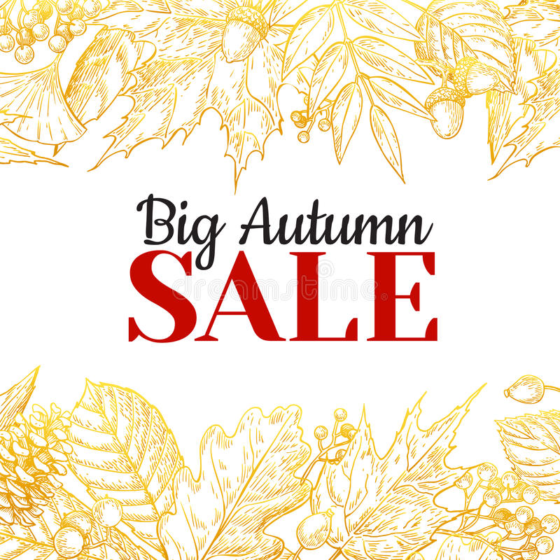 Autumn sale gold banner with leaves and berry. Hand drawn. Fall illustration with frame and botanical elements. Great for poster, banner, voucher, offer, coupon vector illustration