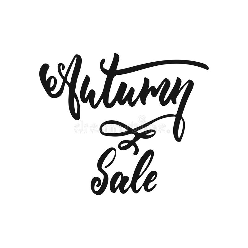 Autumn Sale - hand drawn Fall seasons lettering phrase isolated on the white background. Fun brush ink vector quote for. Banners, greeting card, poster design royalty free illustration