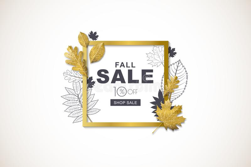 Autumn sale horizontal banner with golden square frame and 3d style gold and outline autumn leaves. royalty free illustration