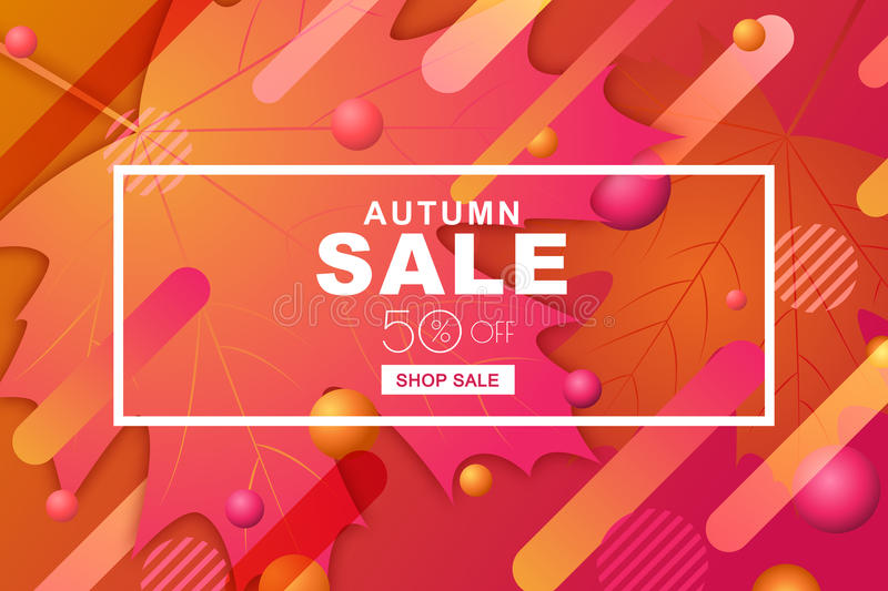 Autumn sale horizontal banners with paper maple leaves and motion geometric shapes. Vector fall poster background. stock illustration