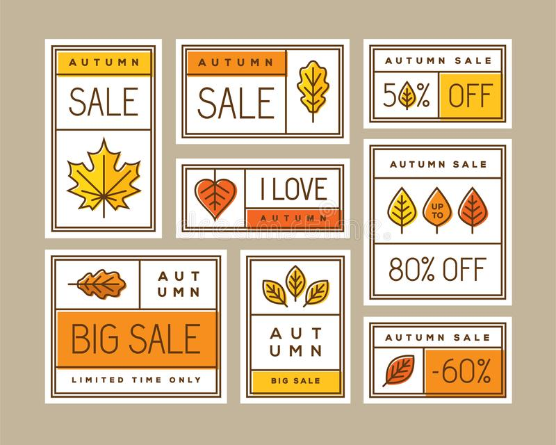 Autumn sale labels, stickers, tags or banners set. stock illustration