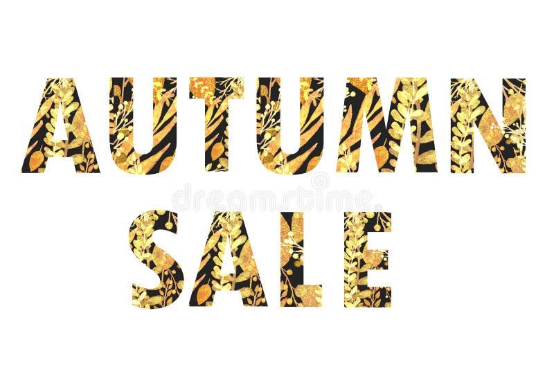 Autumn Sale, letras negras con las hojas de oro ilustración del vector