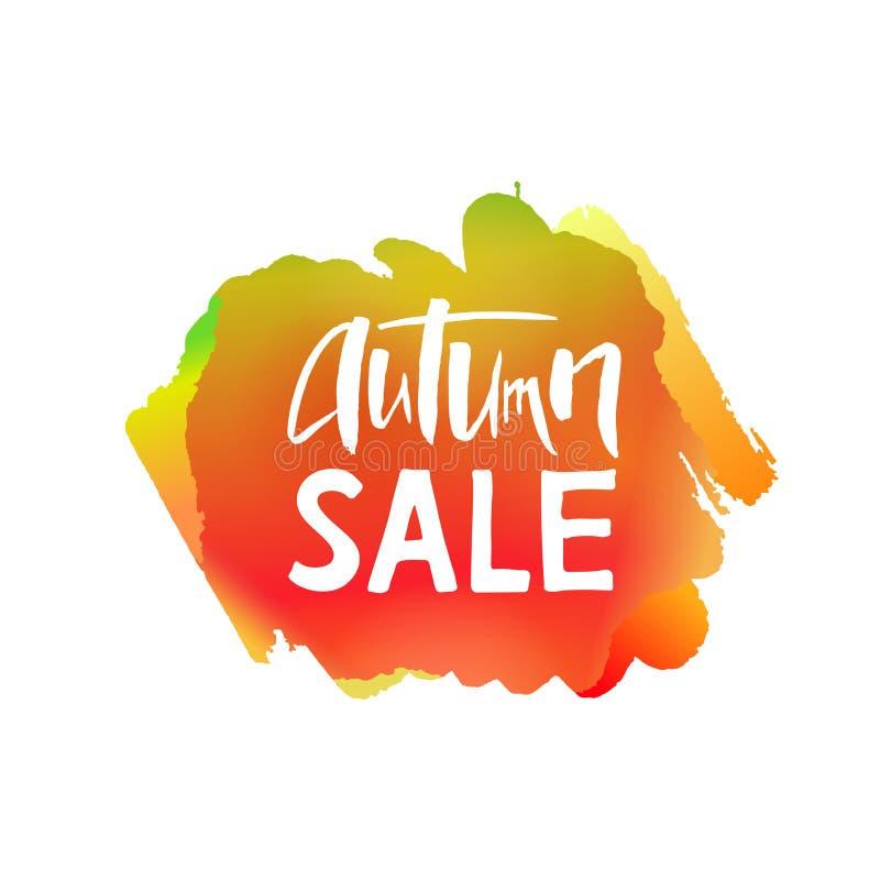 Autumn Sale Lettering sur la tache d'orange d'aquarelle illustration stock
