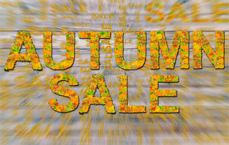 Autumn sale made of colorful leaves isolated on radial blurred. Close royalty free stock image