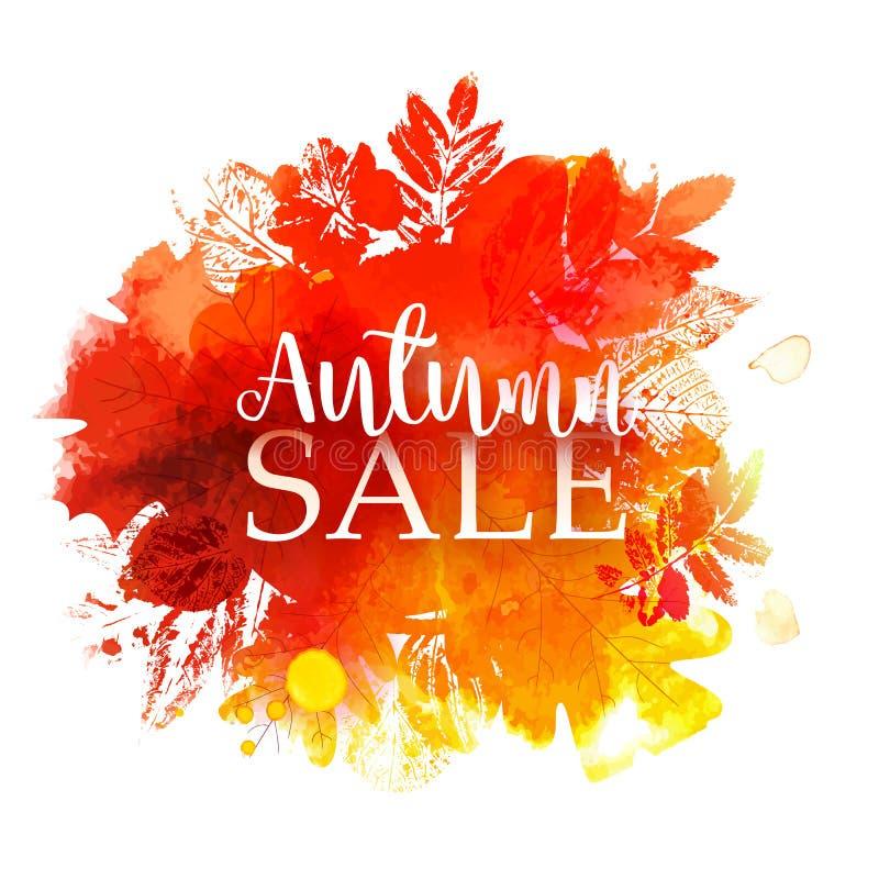 Autumn Sale mit Stempelblättern vektor abbildung