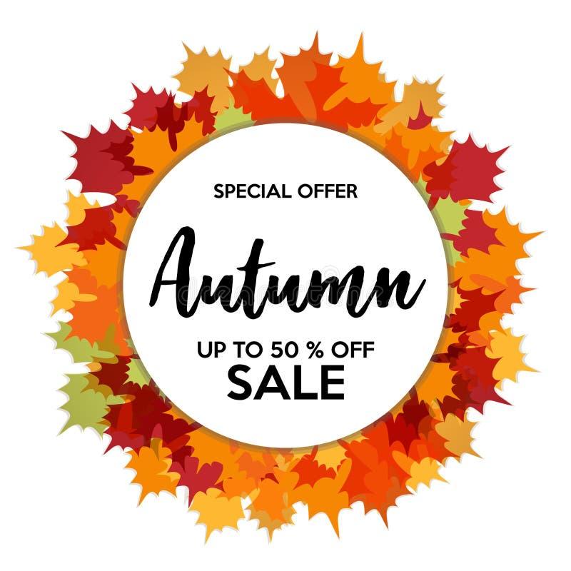 Autumn 50% Sale Off Shops Discount stock illustration
