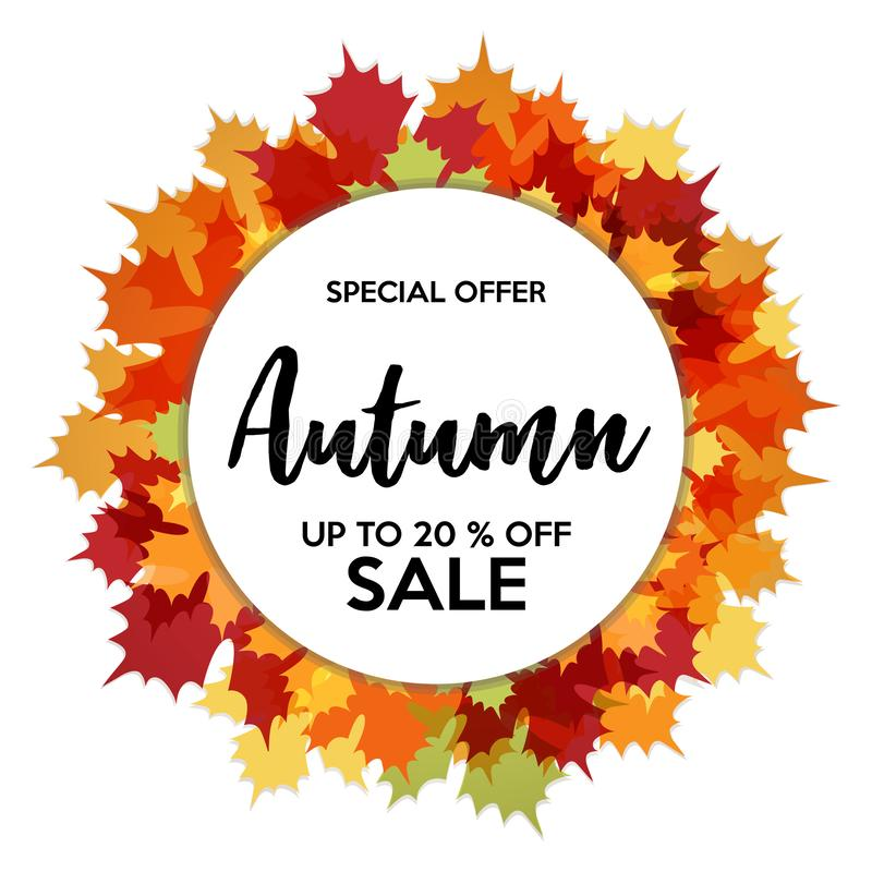 Autumn 20% Sale Off Banner royalty free illustration