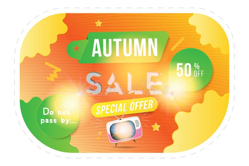 Autumn Sale of 50 off. Concept for big discounts with text and retro TV on a bright background with light effects. Flat vector ill royalty free illustration
