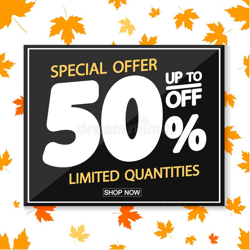 Autumn Sale 50% off, poster design template, special offer, vector illustration royalty free illustration