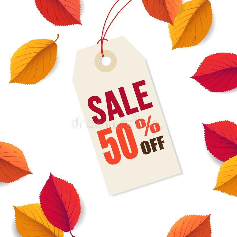 Autumn sale 50 off, tag template. Falling bright colorful leaves isolated on white background. Poster, card, label, web stock illustration