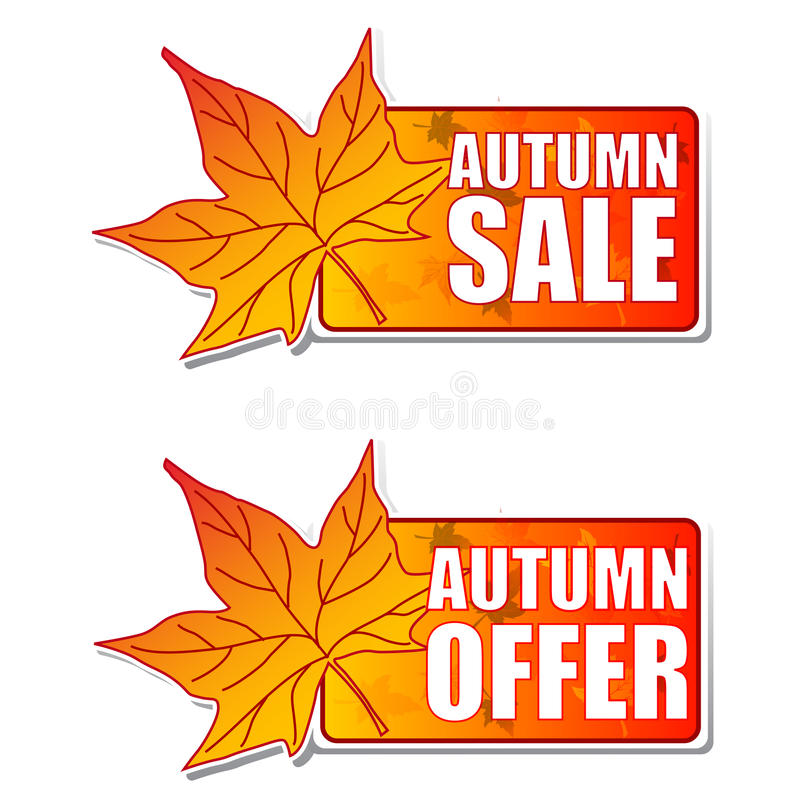 Download Autumn Sale And Offer Labels With Leaf Royalty Free Stock Photos - Image: 26790998