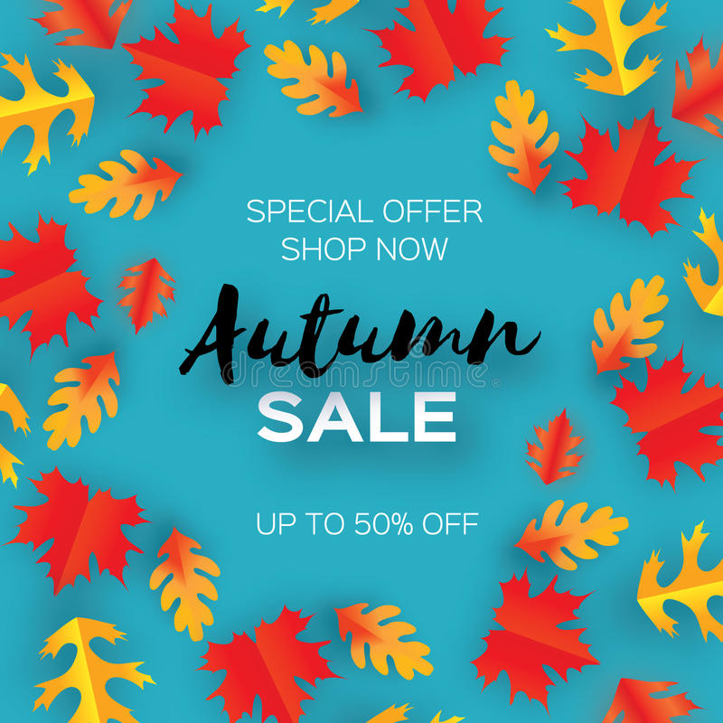 Autumn Sale Paper Cut-bladeren September-vliegermalplaatje Ruimte voor tekst Origamigebladerte eik Het bladaffiche van de cirkeld stock illustratie