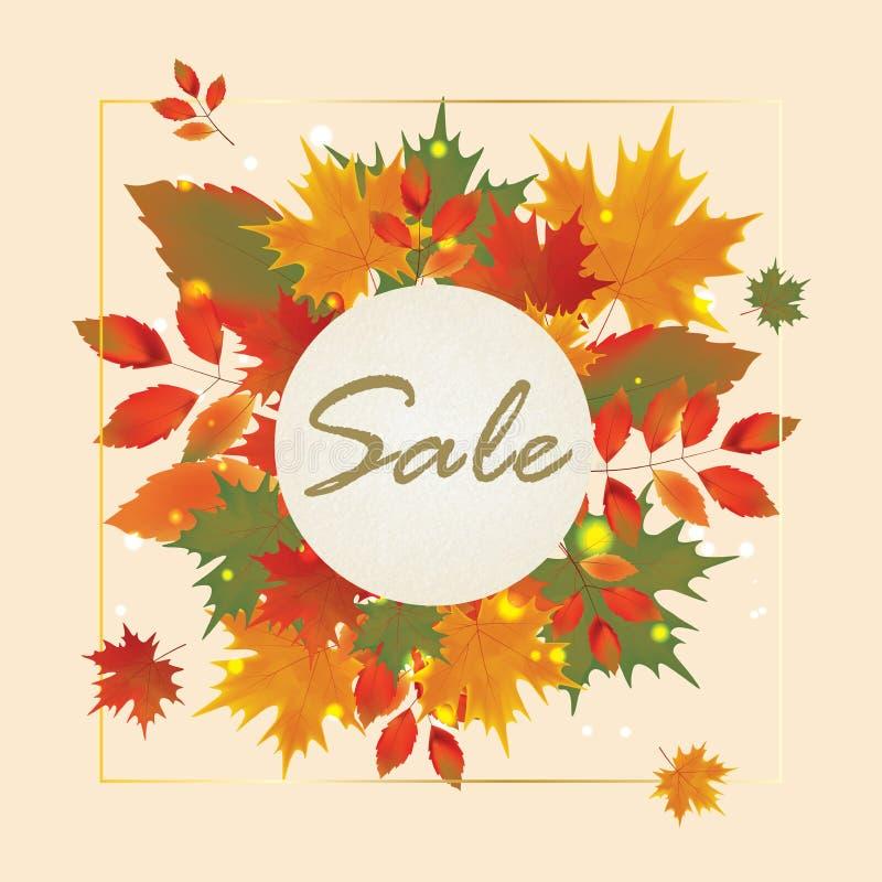 Autumn Sale Poster Design Template ilustração stock