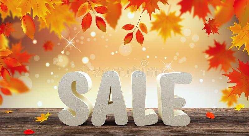 Autumn Sale Poster Design Template 3d rende a ilustração 3d ilustração royalty free