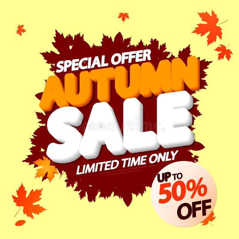 Autumn Sale, poster design template, special offer, up to 50% off, Fall discount banner, vector illustration stock illustration