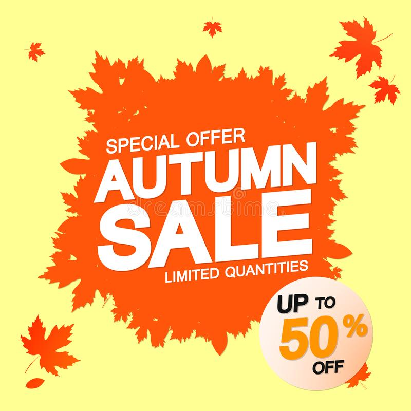 Autumn Sale, poster design template, special offer, up to 50% off, Fall discount banner, vector illustration vector illustration