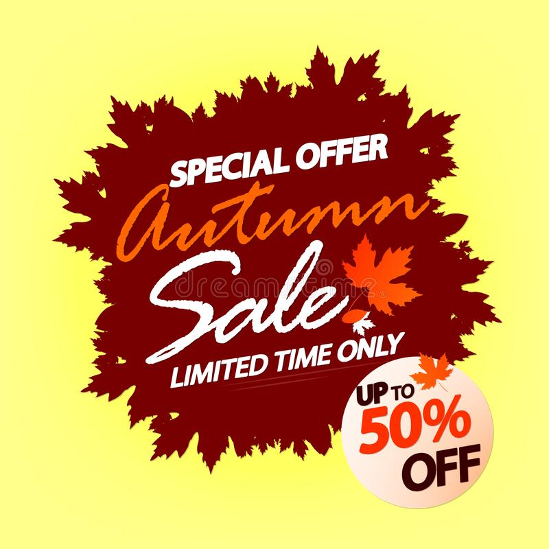 Autumn Sale, poster design template, special offer, up to 50% off, Fall discount banner, vector illustration royalty free illustration