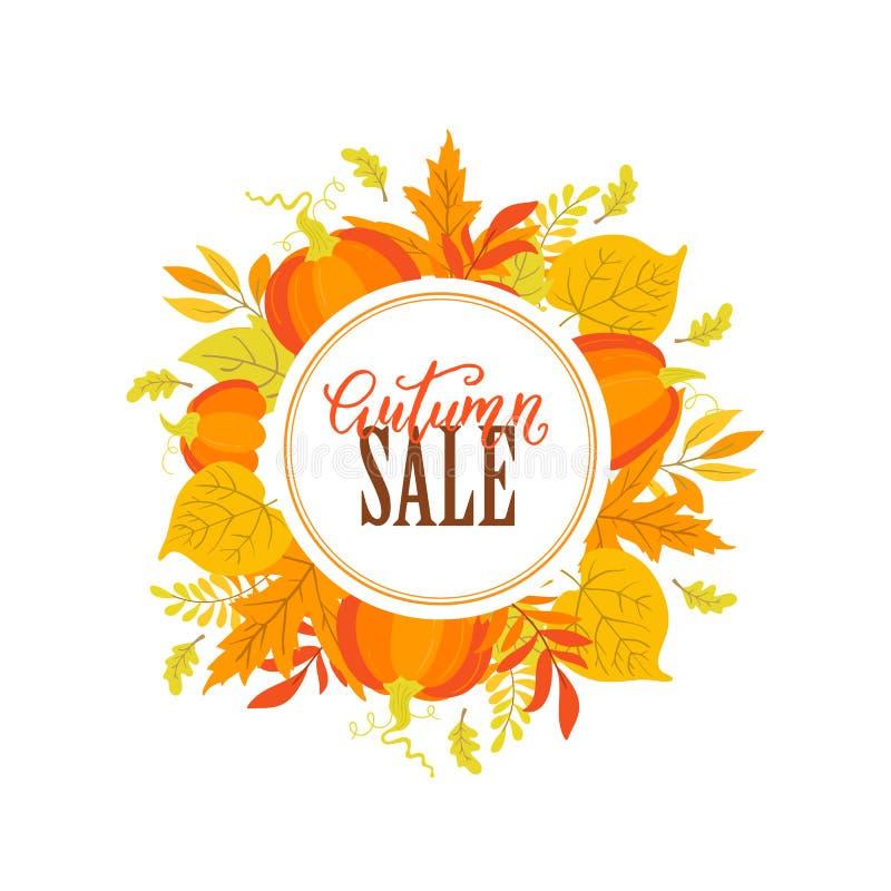 Autumn sale poster with pumpkin, oak, maple, aspen leaves. Vector Autumn sale poster with pumpkin, oak, maple, aspen leaves and circle label on white background royalty free illustration