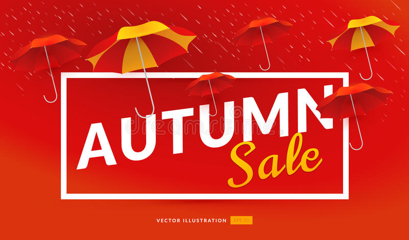 Autumn sale poster template with umbrellas. Vector illustration with bright background stock illustration