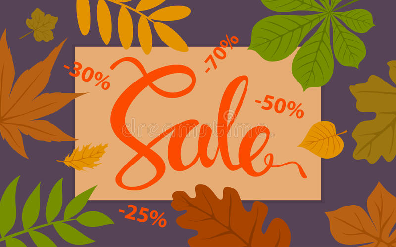 Autumn sale promotional background template with forest fall leaves. Border royalty free illustration