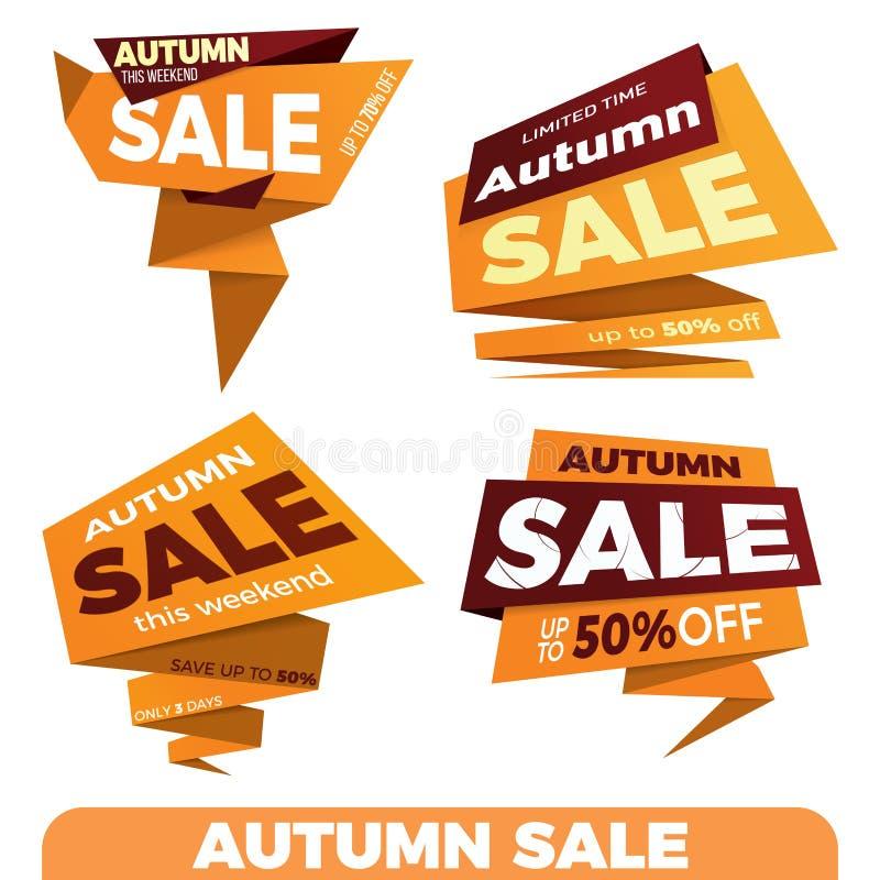Autumn sale. Sale label price tag banner badge template sticker. Design. Vector illustration royalty free illustration