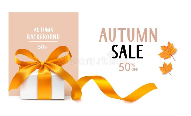 Autumn Sale-Schablonendesign Vektorhintergrund mit Geschenkbox und gelben Ahornblättern lizenzfreie abbildung