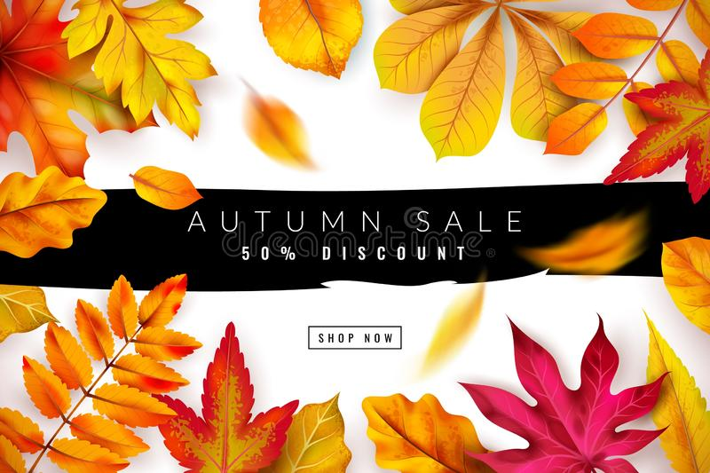 Autumn sale. Seasonal fall discount advertising concept with red and orange foliage. Thanksgiving offer flyer. Vector. Promotion feuille seasons autumnal royalty free illustration