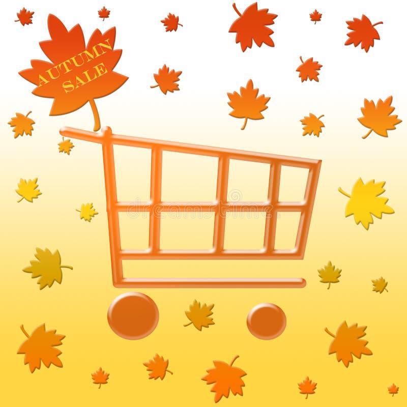 Autumn sale shopping cart royalty free illustration