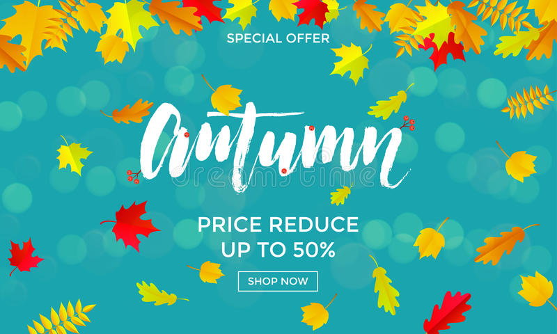Autumn sale shopping discount vector poster fall maple leaf gold web banner royalty free illustration