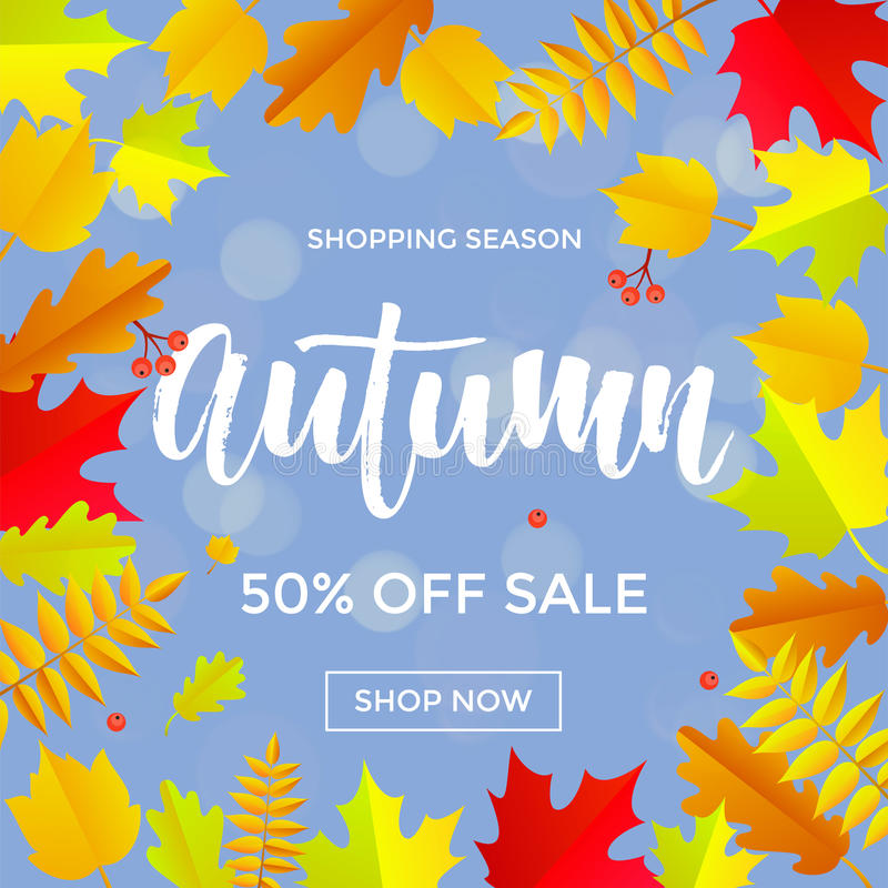 Autumn sale shopping discount vector poster fall maple leaf gold web banner stock illustration