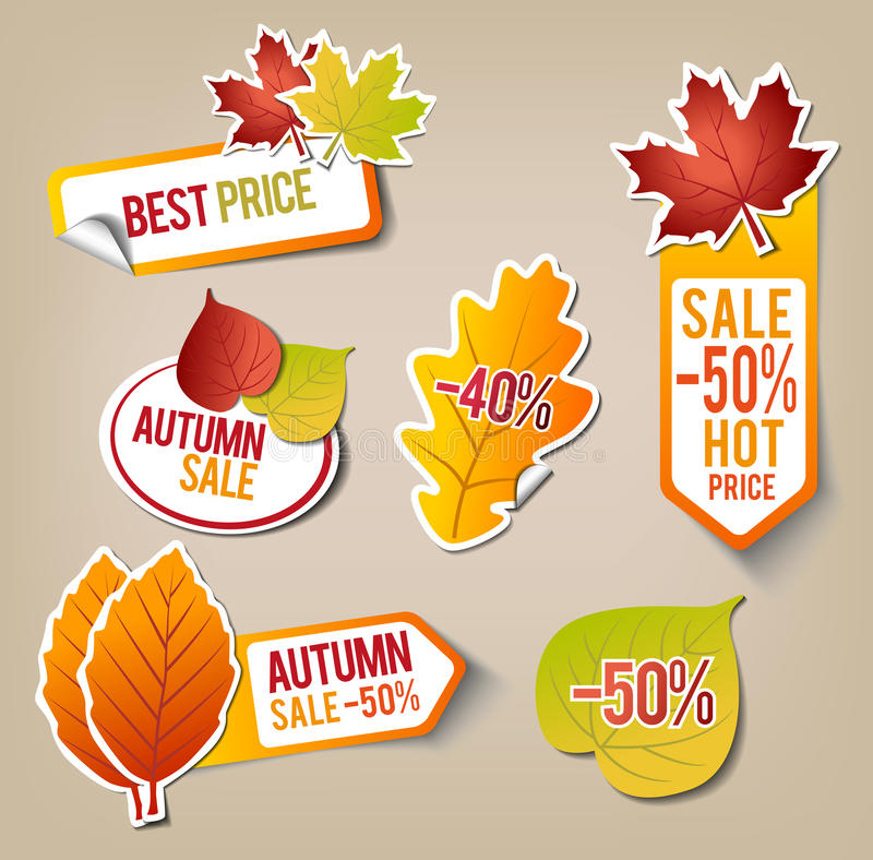 Autumn Sale Stickers vector illustration