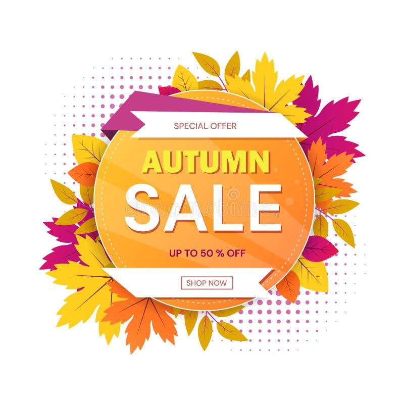 Autumn Sale tecken med runt motiv med text som omges av färgrika sidor för säsongsbetonade speciala erbjudanden och 50 procent stock illustrationer