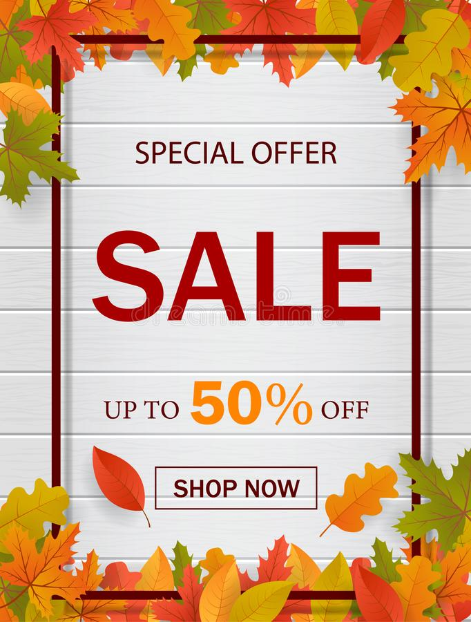Autumn sale template background  for website with frame, seasonal fall leaves and wood. Special offer, autumn sale. vector. Autumn sale template background  for stock illustration