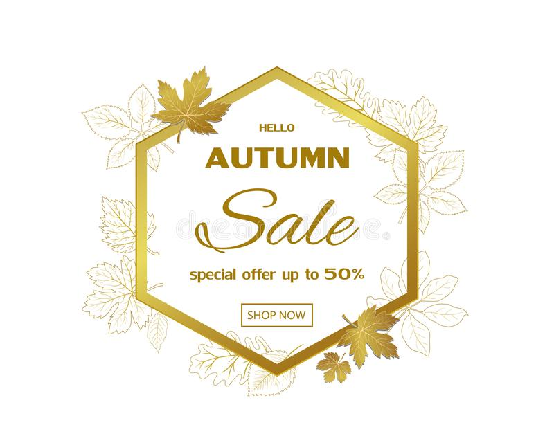 Autumn sale template banner,gold maple leaves with space for text on hexagon frame,fall background for poster,advertising,website. Promotion or online shopping royalty free illustration