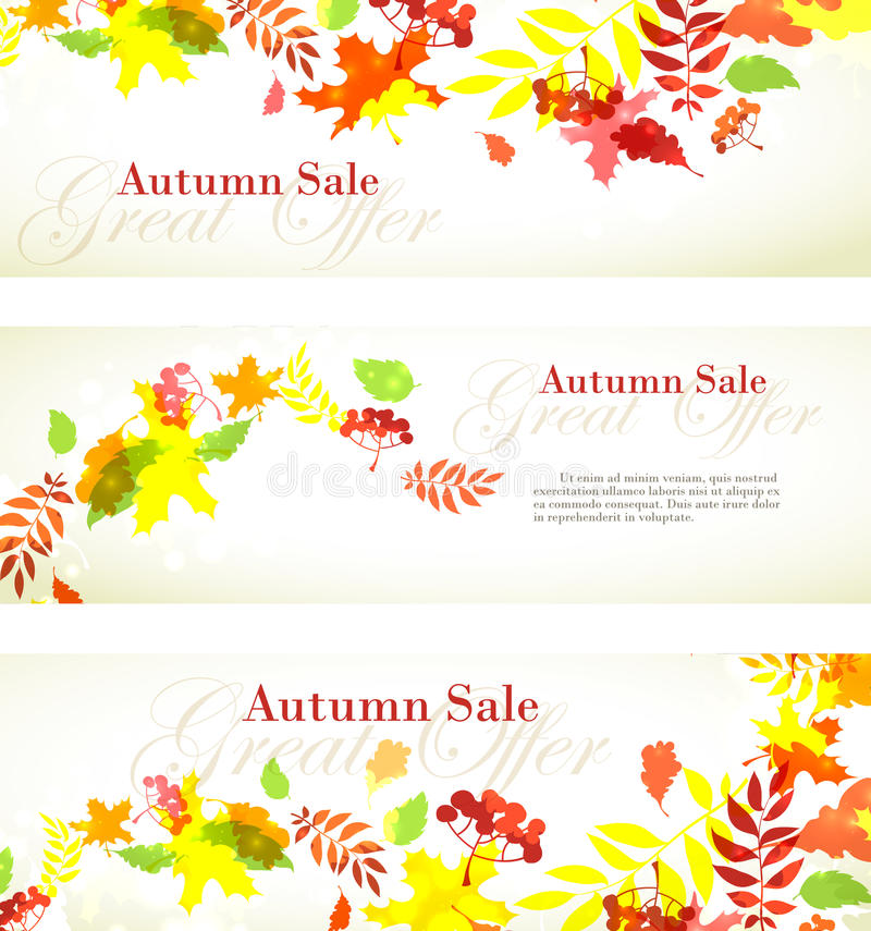 Autumn sale template horizontal banner with fall bright leaves:. Vector illustration Autumn sale template horizontal banner with fall bright leaves: oak, maple royalty free illustration