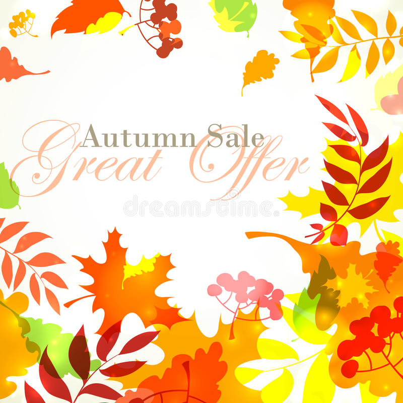 Autumn sale template square frame with fall bright leaves: oak,. Vector illustration Autumn sale template square frame with fall bright leaves: oak, maple, birch royalty free illustration