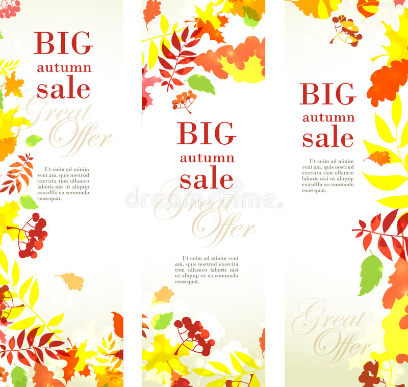Autumn sale template vertical banner with fall bright leaves: oak, maple, birch, rowan, berries. Vector illustration Autumn sale template vertical banner with vector illustration