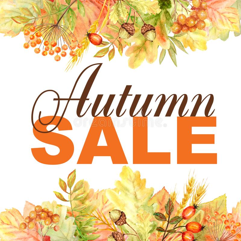 Autumn Sale text Frame isolated on a white background. Watercolor autumn leaf hand drawn illustration for posters design stock images
