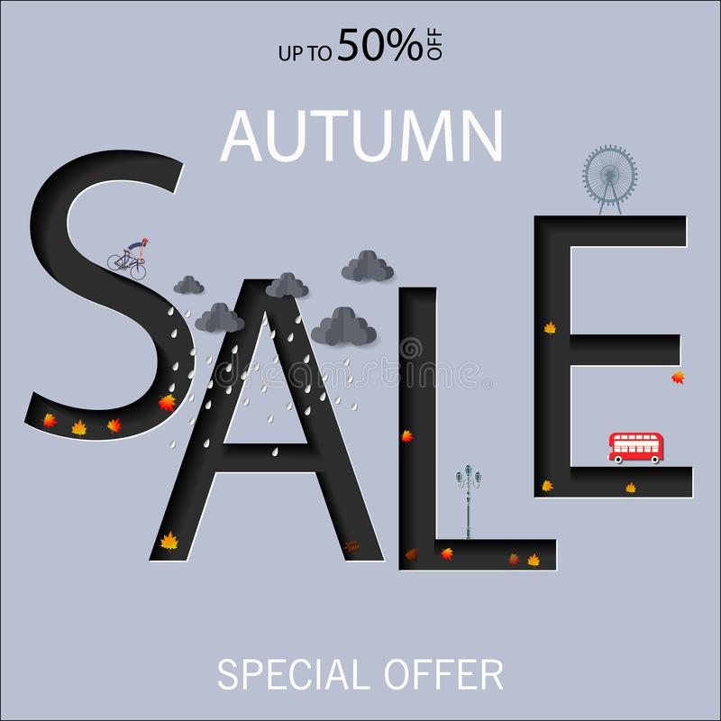 Autumn sale text vector banner with colorful seasonal fall leaves in orange background for shopping discount Vector illustration. Autumn sale text vector banner royalty free illustration